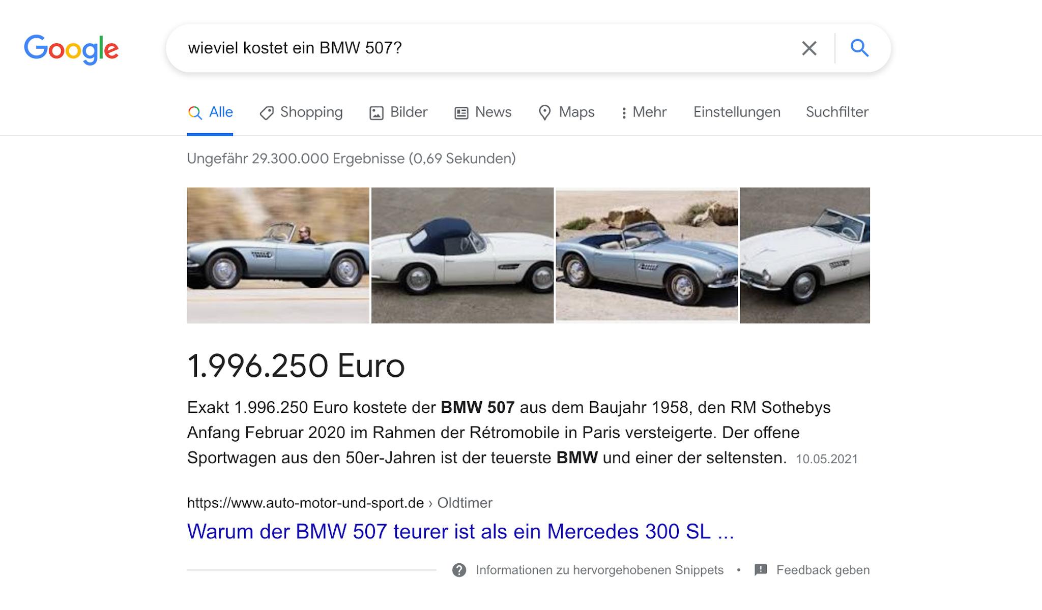 Google Featured Snippet Bildern - AEO